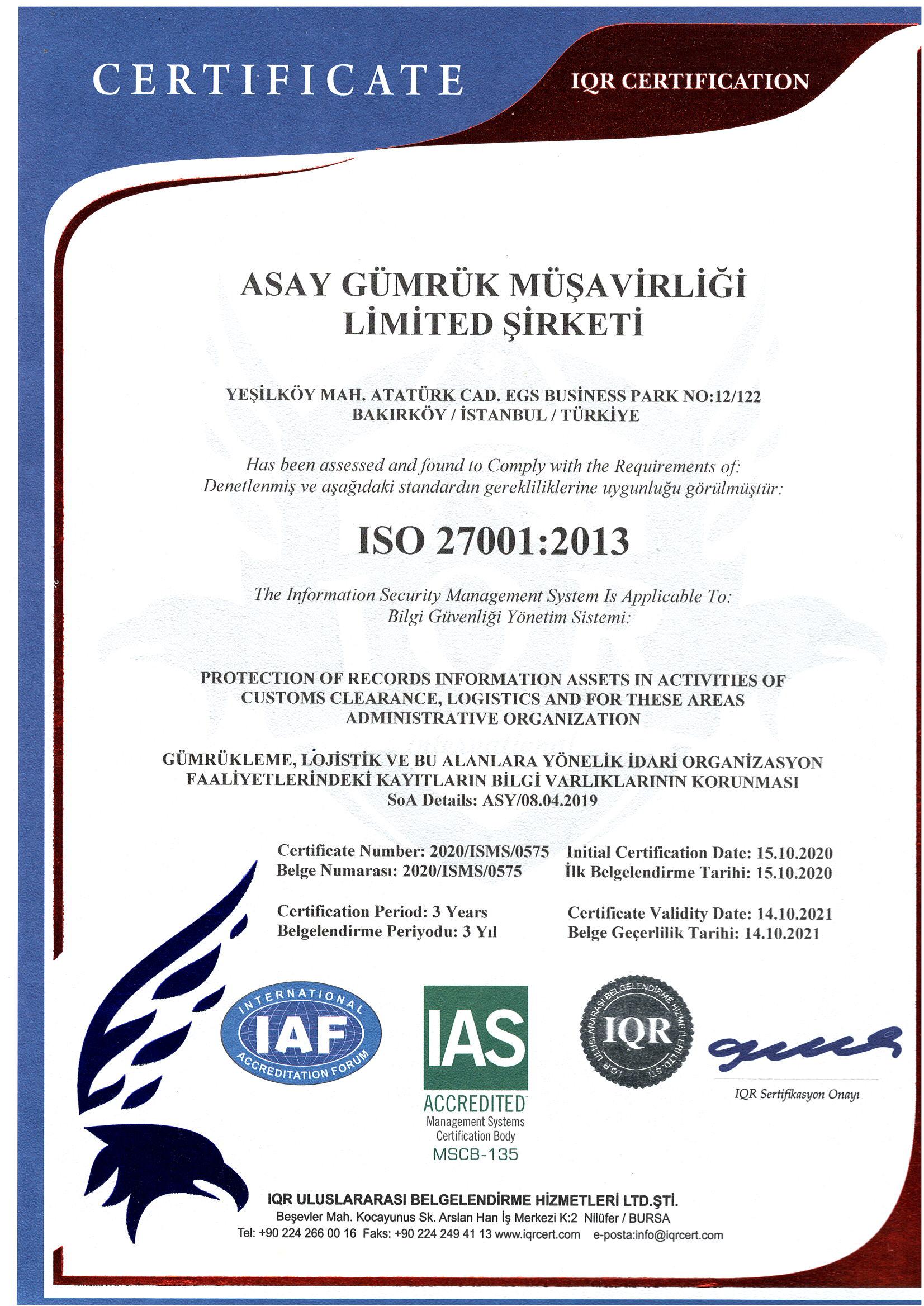 Asay Gümrük İSO 270001