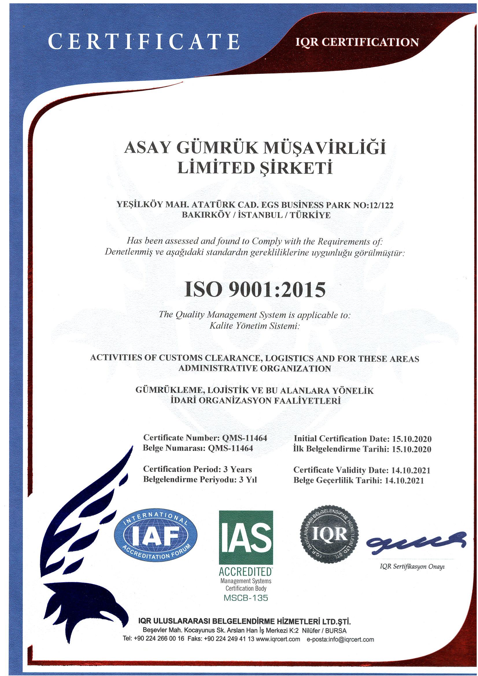 Asay Gümrük İSO 9001